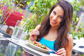 fit woman eating